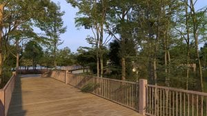 Trinity Landing's Waterfront Pavilion will feature a raised pathway to and from the rest of the community, where members of the community will be able to enjoy and explore the maritime forest landscape.