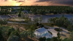 Trinity Landing's Waterfront Pavilion will serve as a hub of activity for the community, as well as a great gathering spot for visits with family and friends. This artist's rendering shows what the area could look like when complete.