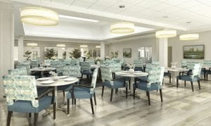 The casual-yet-elegant main dining room is just one of the delightful dining options at Trinity Landing.